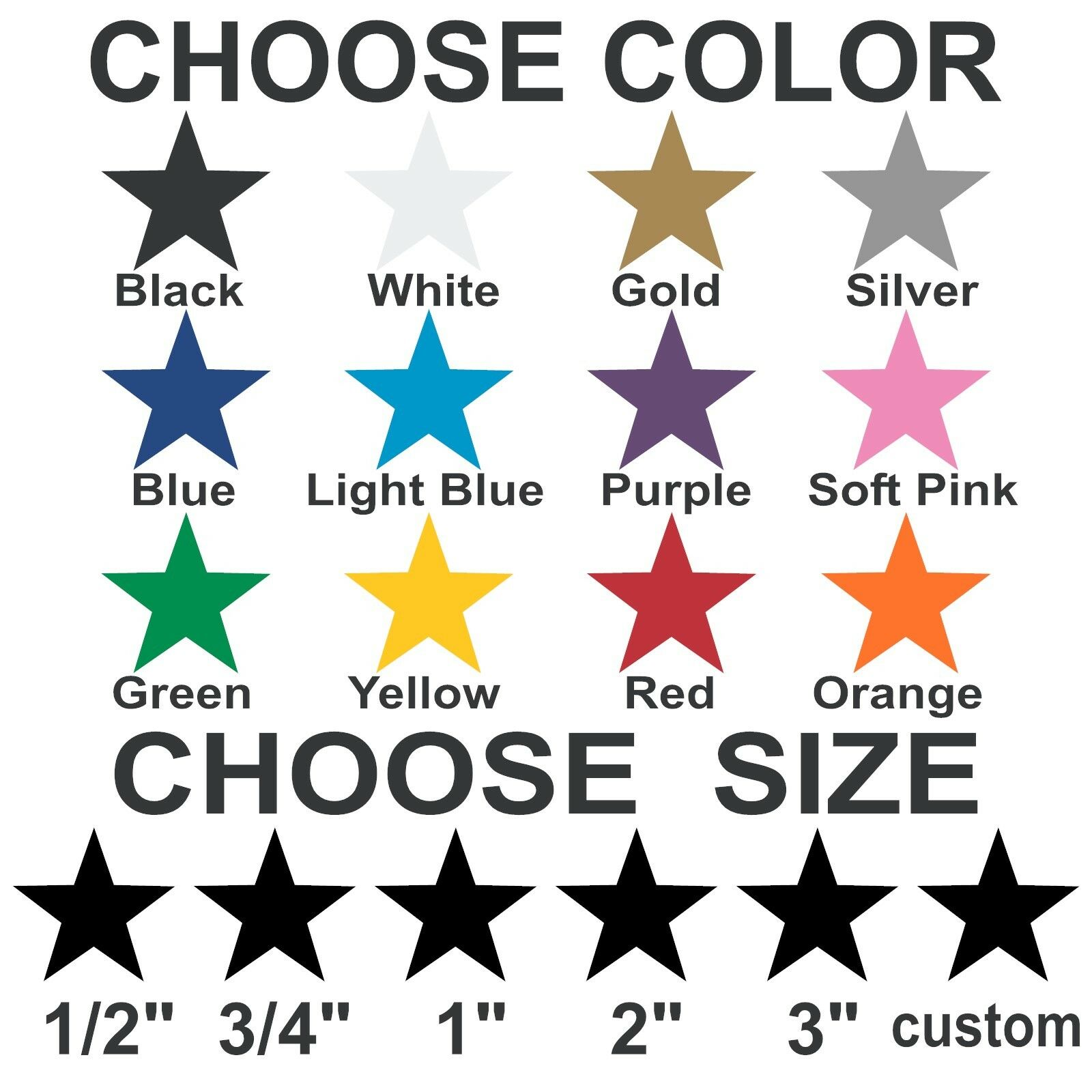 Home Decoration - Star stickers Pick your size and color Removable indoor Matte vinyl wall decals.