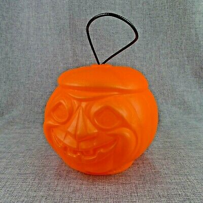 Vintage Blow Mold Pumpkin Pail Treat Bucket Vintage Playtoy Ind. Inc. 1970s
