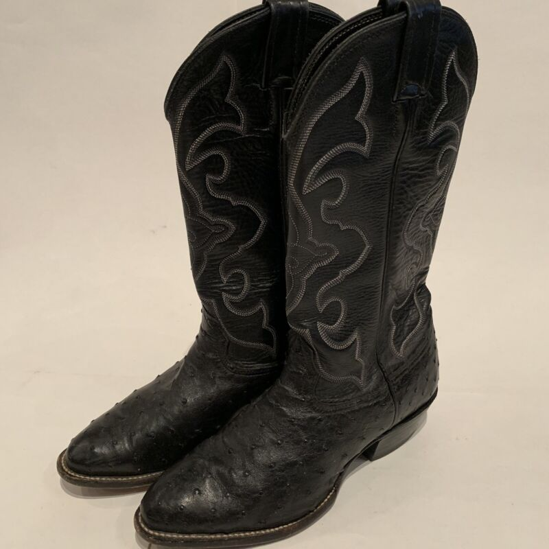 Mens, Larry, Mahan, Black, Full, Quill, Ostrich, Cowboy, Western, Boots, Size:, 7, XE, Wide