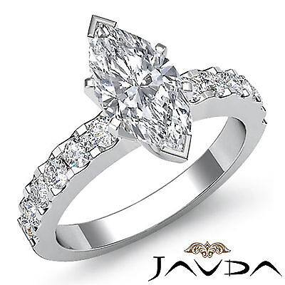 French U Pave Setting Marquise Diamond Engagement Ring GIA H VS2 Clarity 1.47Ct