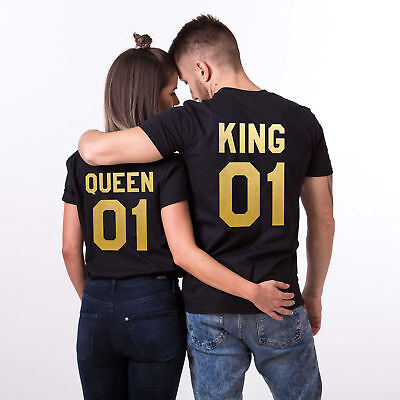 King 01 or Queen 01 T Shirt- Love Matching Couples - Tee Tops *BLACK/GOLD* Gift