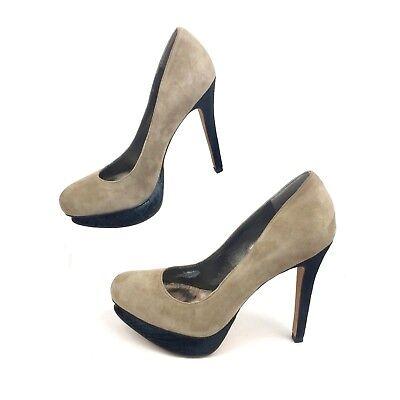 Sam Edelman Ulysa Putty Gray + Black Suede Platform Pumps | Women's Size 6.5 M - Gray Black Putty