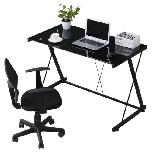 PC Laptop Glass Table Black Computer Desk Workstation Office Home Furniture