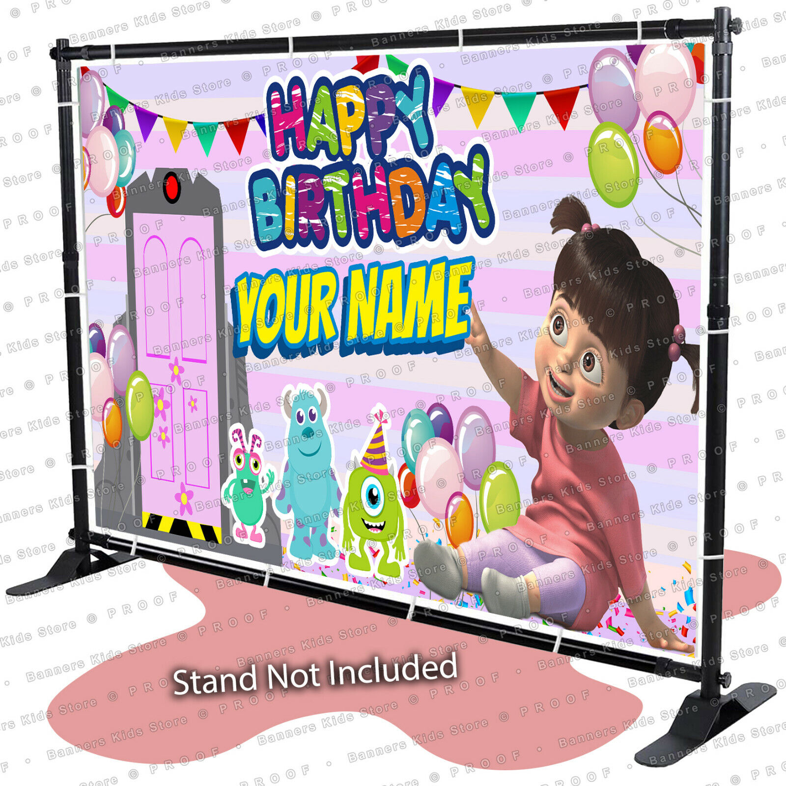 Monsters Inc Boo Door Birthday Banner Personalized Party Backdrop Kid Ebay