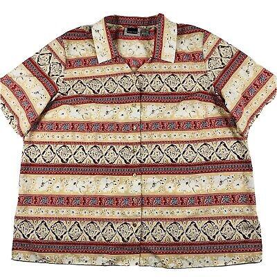 Maggie Barnes Plus Size Womens Floral Short Sleeve Button Down Top Shirt Size