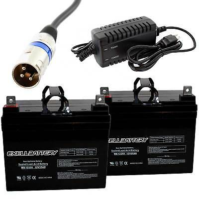 NEW 2pc 12V 35Ah U1 Invacare Pronto M50 M51 M61 M71 Booster Battery W CHARGER
