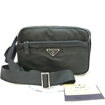 Authentic PRADA Vela Vintage Crossbody Shoulder Bag Nero Nylon B9061 #K411094