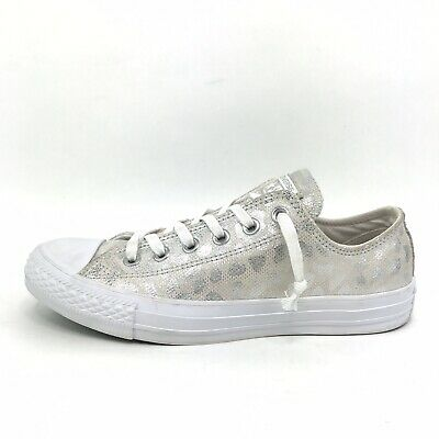 Converse All Star Shoes Women's Size 8 Glitter Silver Animal Print Low Top Flats