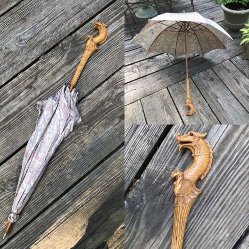 Antique Victorian  Silk Print Parasol Umbrella With Carved Dragon Griffin Handle