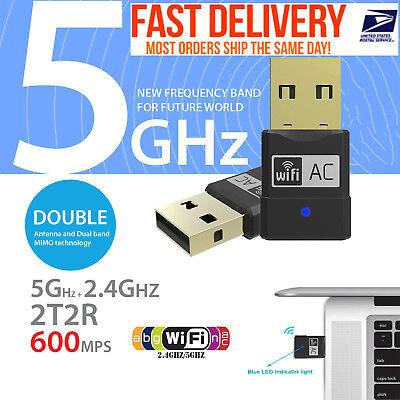 Usb Dual Band Wifi Dongle 600Mbps 2 4Ghz 802 11Ac Wireless Network Adapter Mini