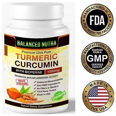 Best Selling Turmeric Curcumin with Bioperine Black Pepper 1500mg Extra Strength