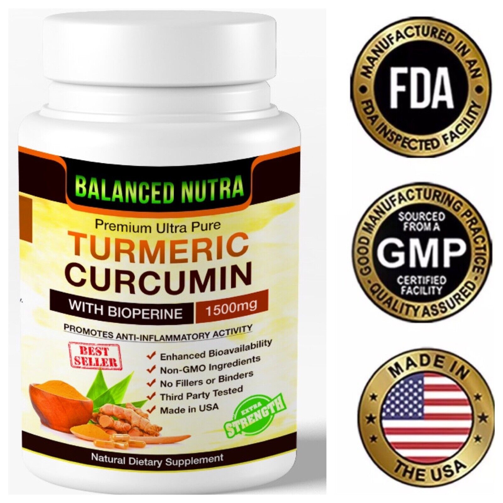 Best Selling Turmeric Curcumin with Bioperine Black Pepper 1