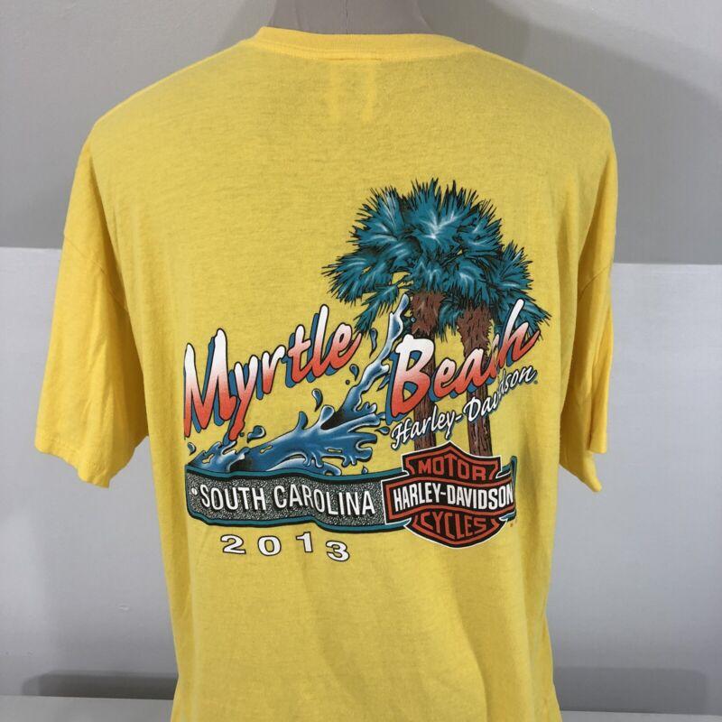 Harley Davidson Myrtle Beach South Carolina Yellow 2013 Yellow T Shirt Men