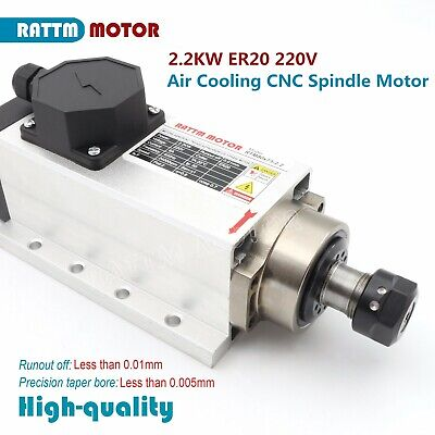 2.2kw Square Air Cooled Spindle Motor Er20 400hz 24000rpm For Cnc Router Machine