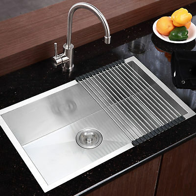 "Commercial Stainless Steel Top Mount Kitchen Sink 28""x18"" Single Bowl w/ Dry Mat"