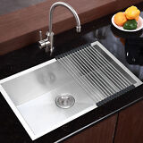 """Commercial Stainless Steel Top Mount Kitchen Sink 28""""x18"""" Single Bowl w/ Dry Mat"""