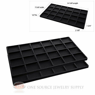 2 Insert Tray Liners Black W 24 Compartments Drawer Organizer Jewelry Displays