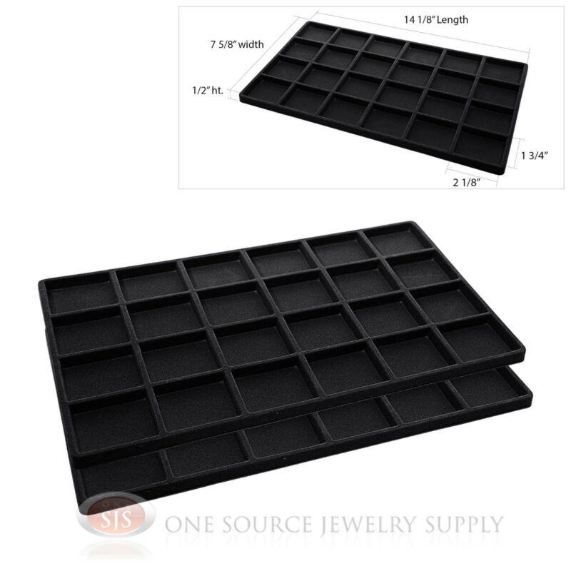 2 Insert Tray Liners Black W/ 24 Compartments Drawer Organizer Jewelry Displays