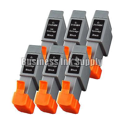 - 6 BK Ink Cart BCI-21 CANON BJC 2120 4100 4300 323 F 411