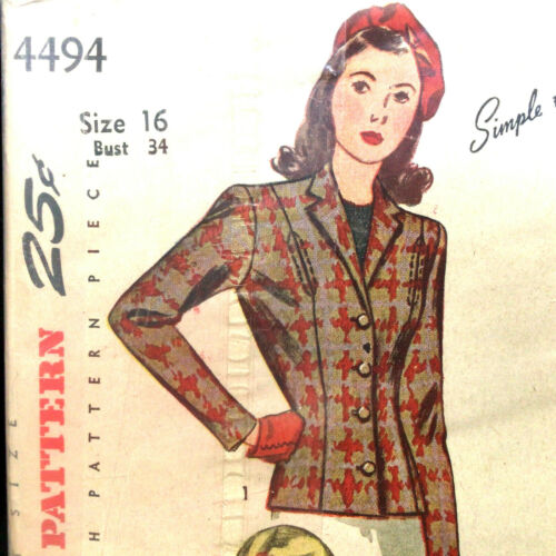 Misses Fitted Jacket Size 16 Vtg Sewing Pattern Simplicity 4494