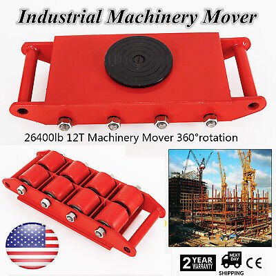 12t 26400lbs Machinery Mover W 360 Swivel Rotation Cap Dolly Skate Heavy Equip