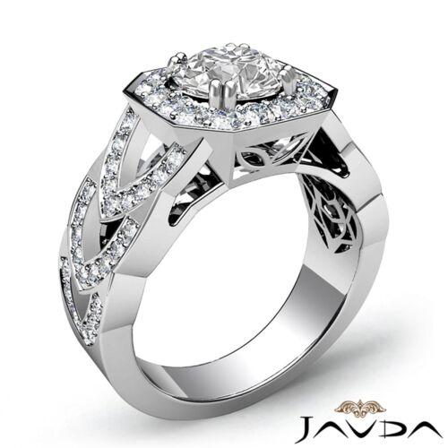 Round Diamond Engagement GIA F SI1 Platinum Halo Pave Set Designer Ring 2.28ct 1