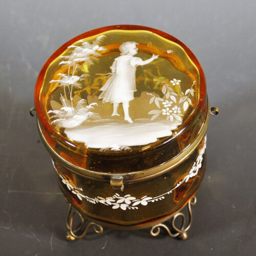 Exceptional Amber Mary Gregory Dresser Jar - Girl and Butterfly - Very Old