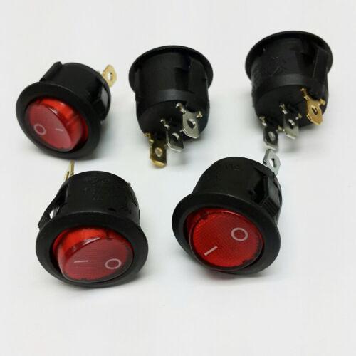 5x SPST Red Neon Light On/Off Round Rocker Switch 6A/250V 10A/125V AC