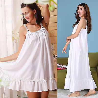 Womens Elegant Sling White Sleepwear Maxi Dress Nightgown Cotton Pajama New