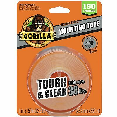 Gorilla 6036002 Tough Clear Xl Mounting Tape 150 Inches Clear New 38lbs