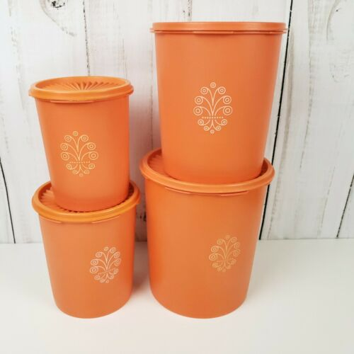 Vintage Mid Century Orange Tupperware Servalier Canister Set 805-12 807 809 811