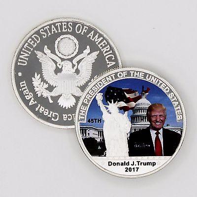 2017 45th President Donald Trump Commemorative Coin! Statue of Liberty & Flag..