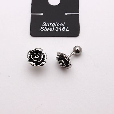 Surgical Steel Earrings Silver Rose Flower Piercing Stud For Men and Women