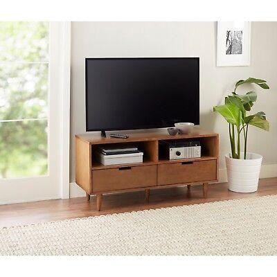 Tv Console Cabinet Finish - Mid Century Modern Media Cabinet Console TV Stand Pecan Finish Entertainment 55