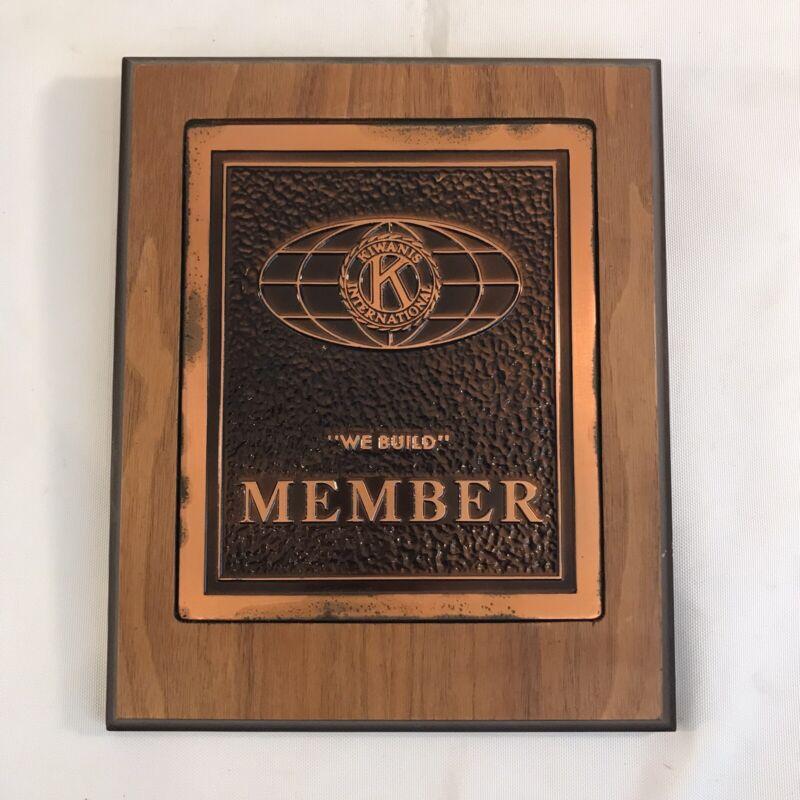 """Kiwanis International Member Wood & Brass Wall Plaque 7"""" X 8.5"""" (HD31)"""
