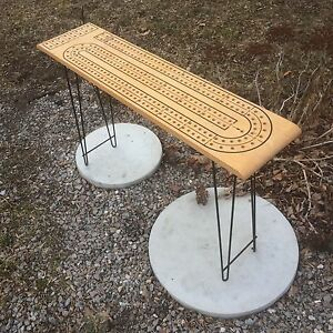Giant cribbage board midcentury vintage folding hairpin legs