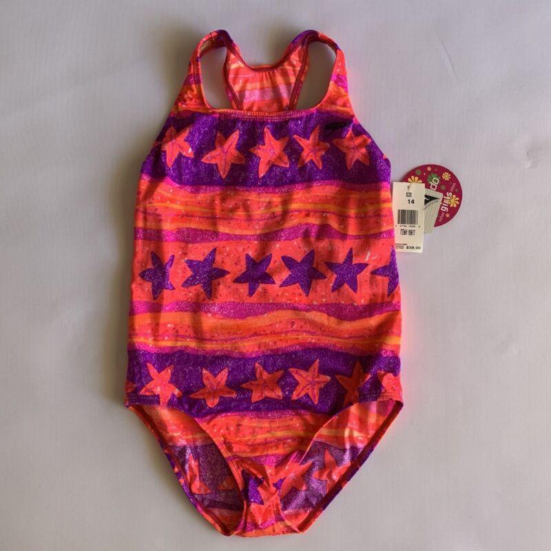 New Speedo Girls Pink/Purple/Orange Racerback Swimsuit with Starfish Size 14