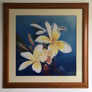3 Floral pictures in wooden frame
