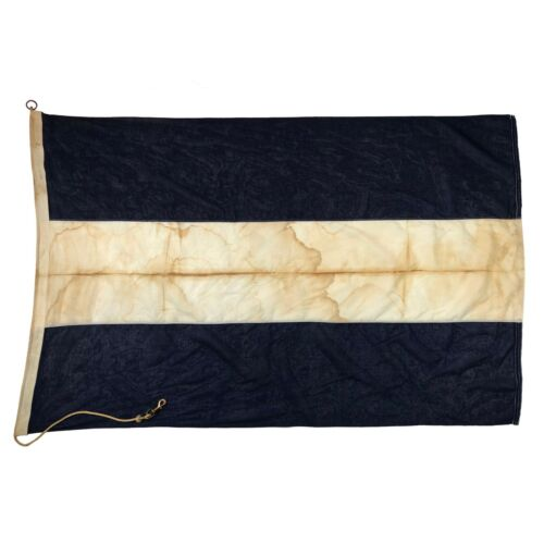 Large Vintage Sewn Cotton Nautical Signal Flag Maritime Navy Naval Boat Juliet J