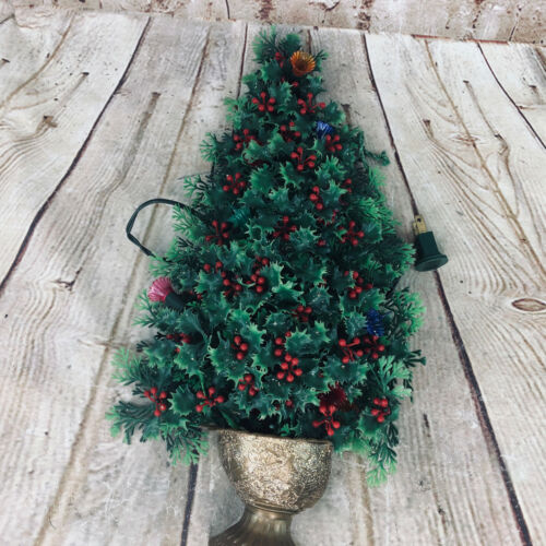 "Vtg Holly Tree w berries Christmas Ornament /w String Lights & gold Pot MCM 15""H"