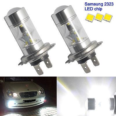 2X H7 60W 6000K Super White Samsung 2323 LED Fog Lights 12-SMD Driving Bulbs 12V