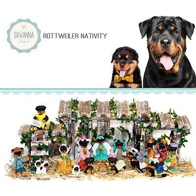 SAVANNASHOPS Dog Nativity Rottweiler Gifts - Nativity Sets - Dog Lover Gifts