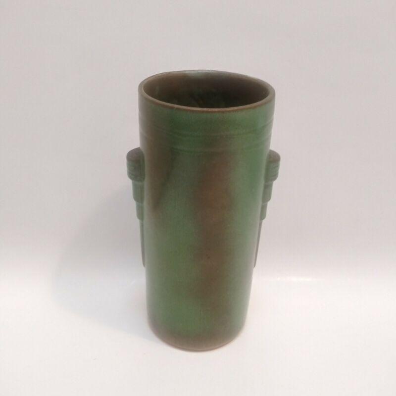 Vintage Art Deco FRANKOMA #50 Ada Clay Prarie Green Cylinder Vase -  RARE Stamp