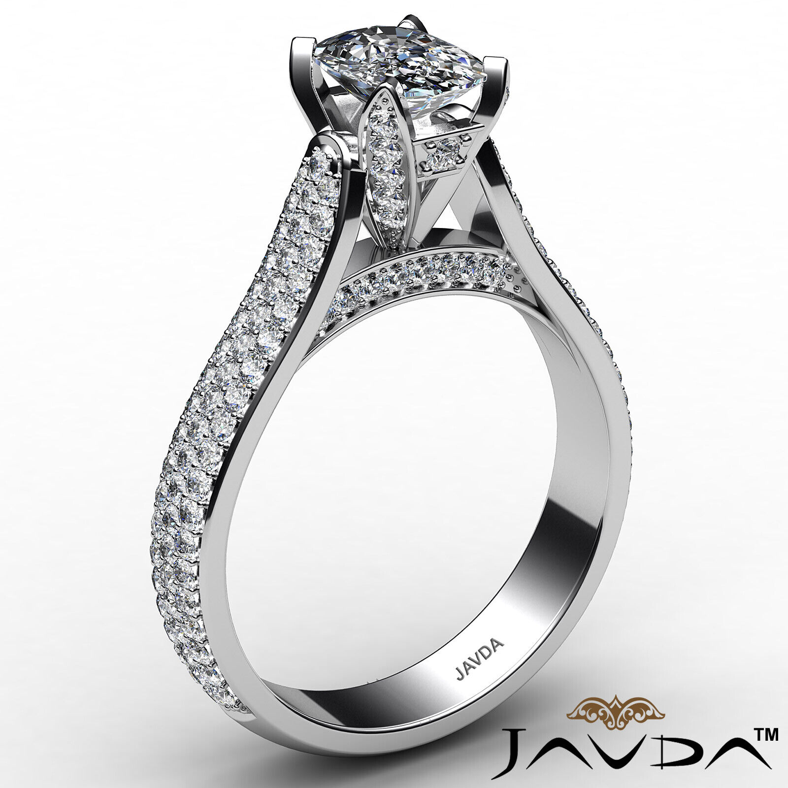 3 Row Shank Cushion Diamond Engagement Ring GIA E Color & SI1 clarity 2.35 ctw 3