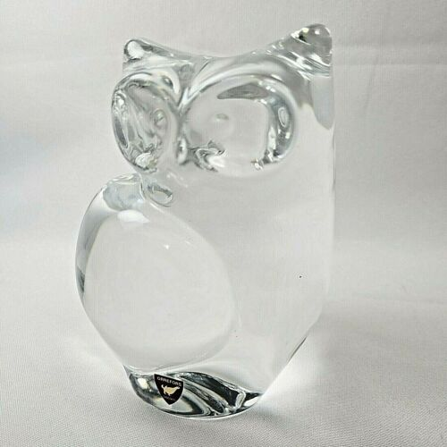 Orrefors of Sweden 5 1/2 inch Crystal Glass Owl Figurine Paperweight