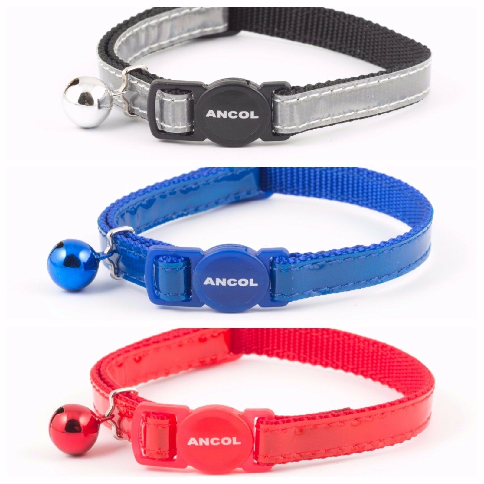 ANCOL GLOSS REFLECTIVE SAFETY RELEASE CAT COLLARS - Single or Multiple Option