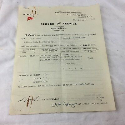 VINTAGE PRINCE LINE RECORD OF SERVICE ENGINEERS CERTIFICATE 1952 EGYPTIAN PRINCE