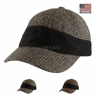 Stitch Plaid Adjustable Baseball Army Cap Hat Warm Soft Fall Winter Womens Mens