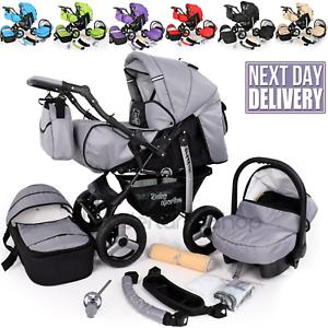 Pram Baby Buggy Set  Folding 3 in 1 Set Travel System Car Seat  Pushchair