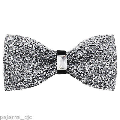 Fashion Silver Diamonds Glitters Rhinstone TUXEDO BOW TIE Bowtie Wedding Party - Glitter Bow Tie